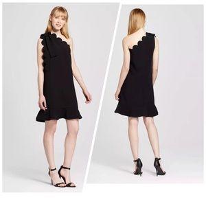 Victoria Beckham one shoulder scalloped dress